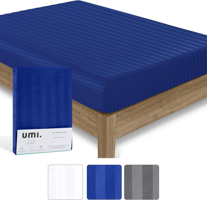 Colore: blu. UMI 500 TC Lenzuolo con angoli Doppio Cotone