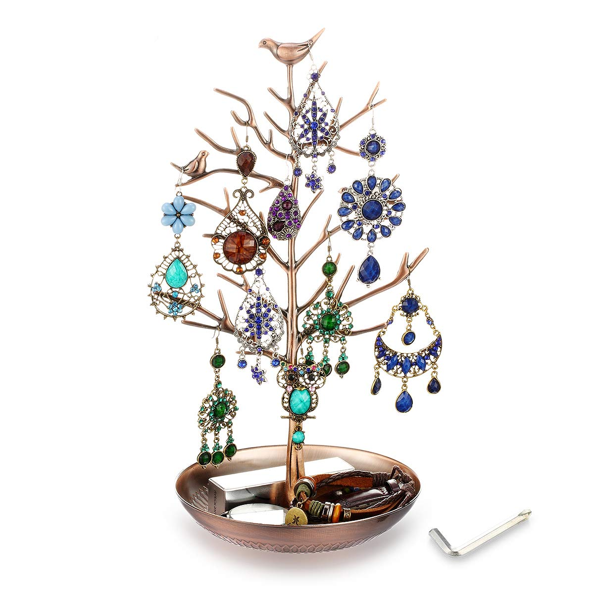 YODA Stronger Jewelry Earring Necklace Holder Stand Display Tree, Earring Necklace Organizer Rack Tower, Antique Brass