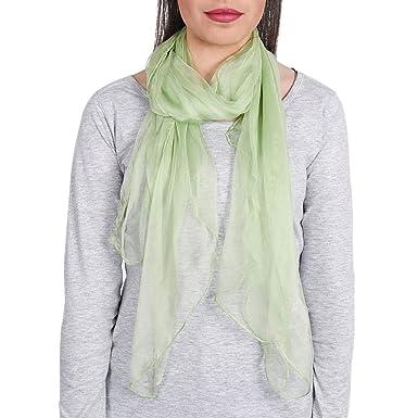 Foulard mousseline soie Vert amande uni  Amazon.fr  Vêtements et ... c5a2a3820ce