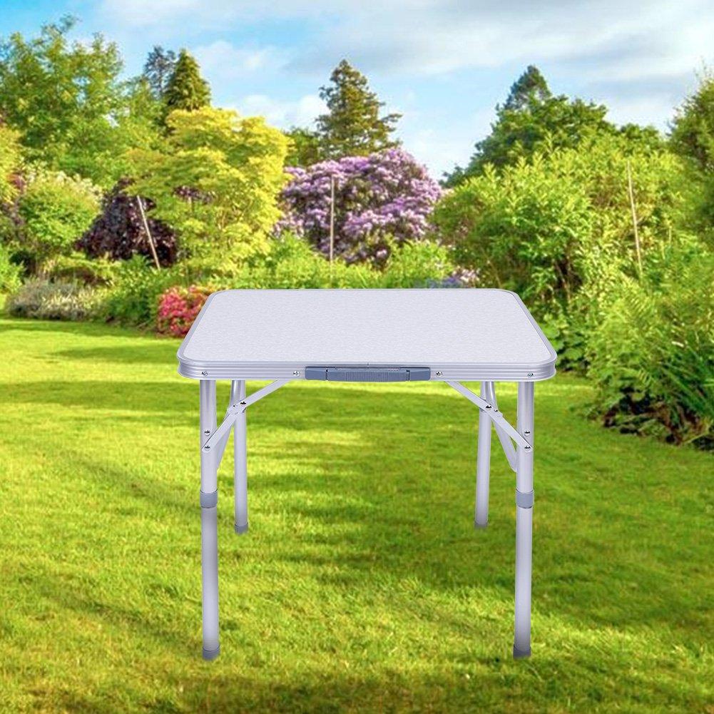 Zusammenklappbar f/ür Garten Camping Wandern Gr/ö/ße: 60 x 45 x 58 cm aus Aluminium Zusammenklappbar Angeln tragbar Zerone Campingtisch BBQ Picknick