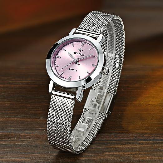 Amazon.com: Ultra-thin Dial Women Watches Luxury Women Watch Quartz Waterproof Mesh belt Concise Watch (23-Pink): Watches