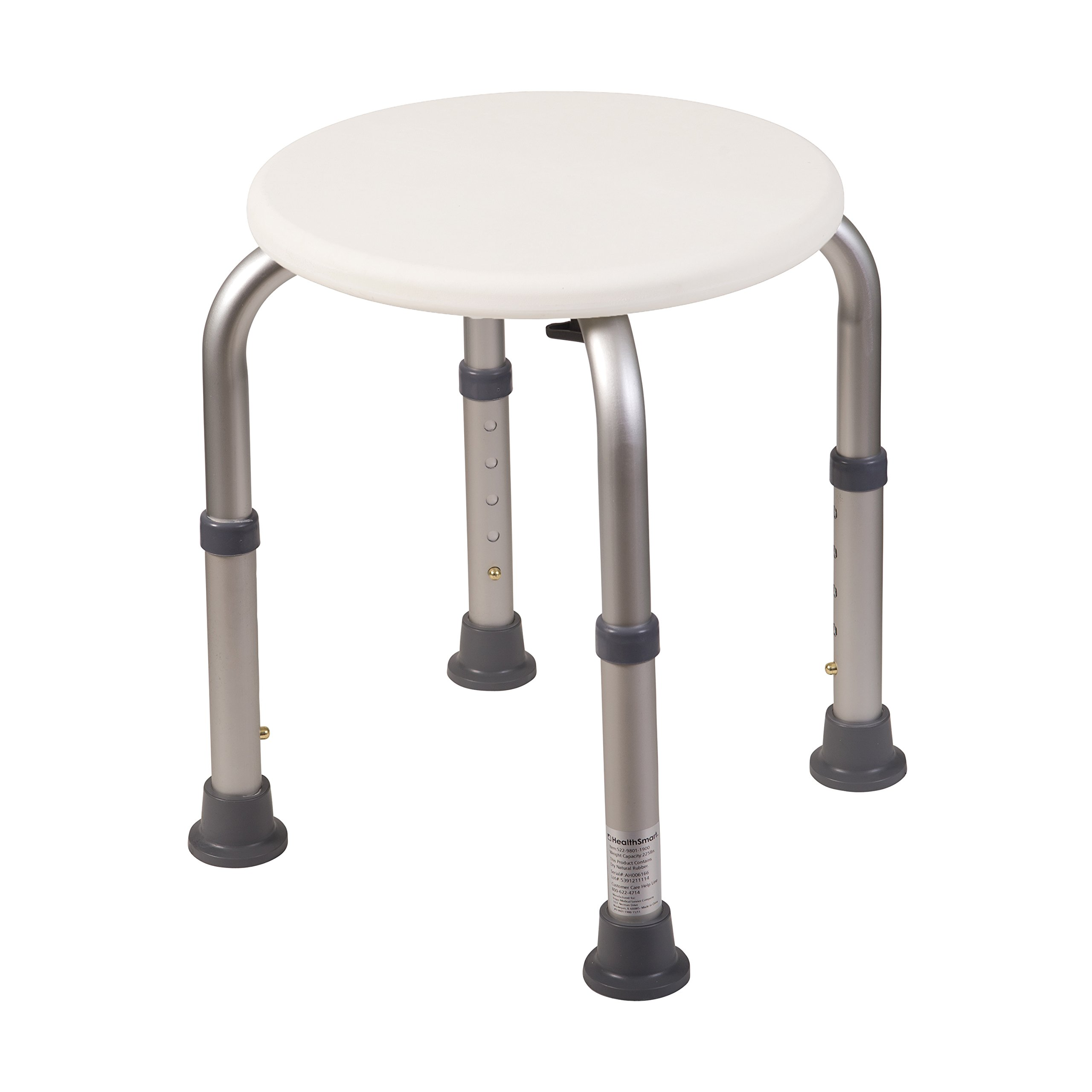 HealthSmart Medical Tool-Free Adjustable Compact Shower Stool and Bathtub Seat, Excellent for Small Showers and Bathtubs with Rubber Tips for Safety and Stability.