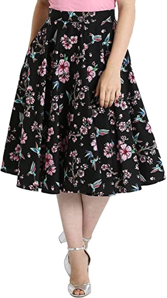 Hell Bunny Pin Up Vintage 50s Skirt BLUEBELL Flowers Turquoise Black All Sizes