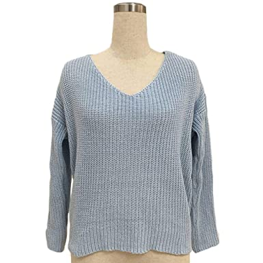 91e6f512145c Image Unavailable. Image not available for. Color  Xinghan Women s V Neck  Twisted Back Pullovers Sweater Long Sleeve Loose Casual Knitted Sweater