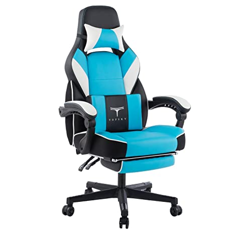 Cool Topsky High Back Racing Style Pu Leather Executive Computer Gaming Office Chair Ergonomic Reclining Design With Lumbar Cushion Footrest And Headrest Bralicious Painted Fabric Chair Ideas Braliciousco