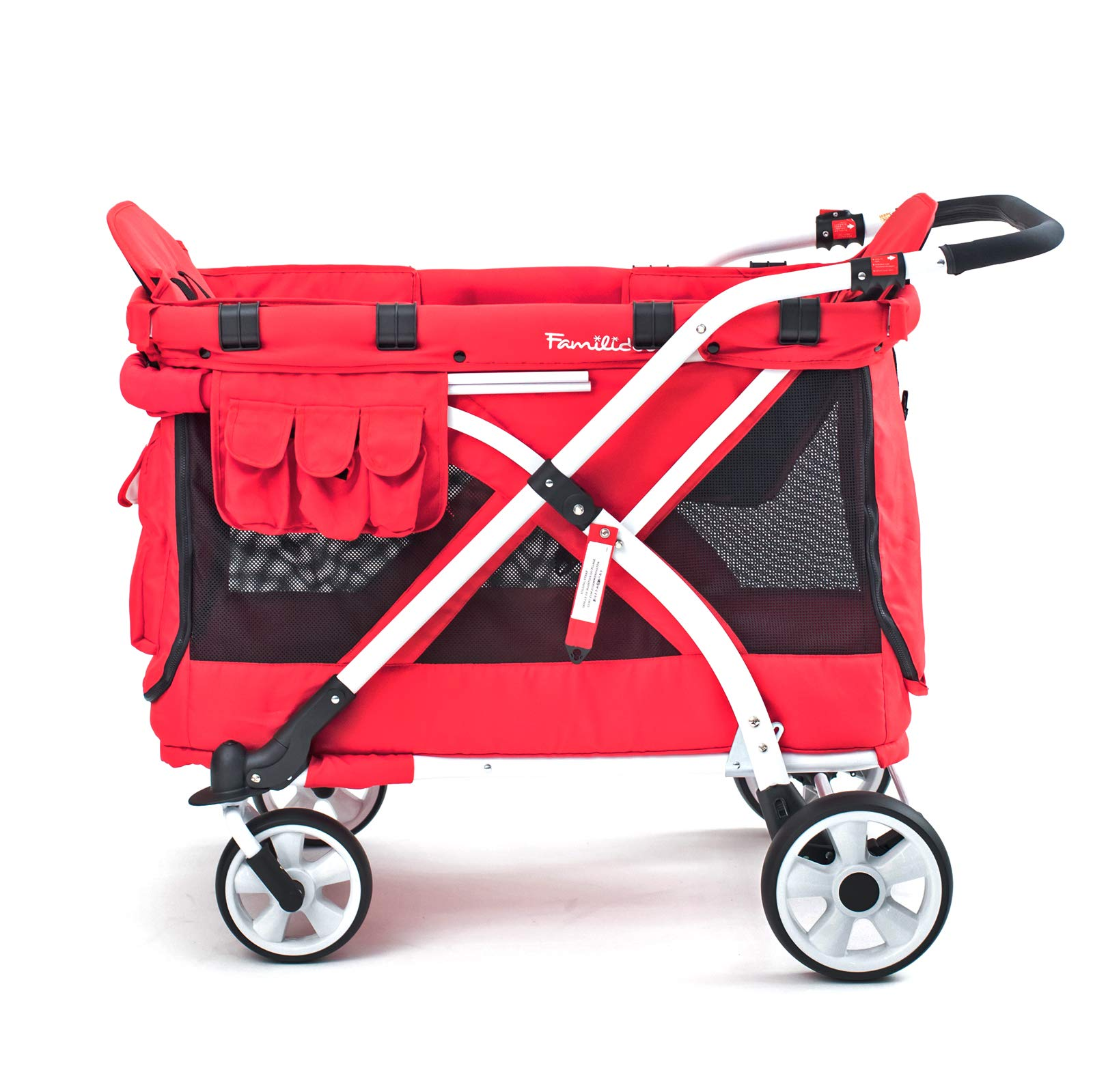Familidoo Multi-Purpose 6 in 1 Large Twin Size Toddler Baby Folding Stroller Chariot Wagon, Red by FAMILIDOO (Image #8)