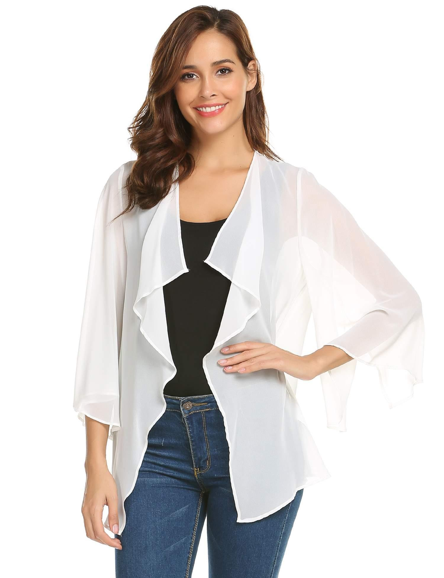 Pinspark Women's Sheer Bolero Shrug Shawl Chiffon Thin Cardigan (M, Pure White1)