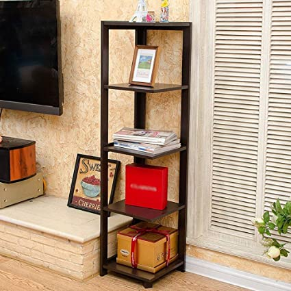 XQY Home Bedroom Bookcase Bookshelf Multifunction 5Th Floor Type Corner Shelves Storage Rack Flower Stand