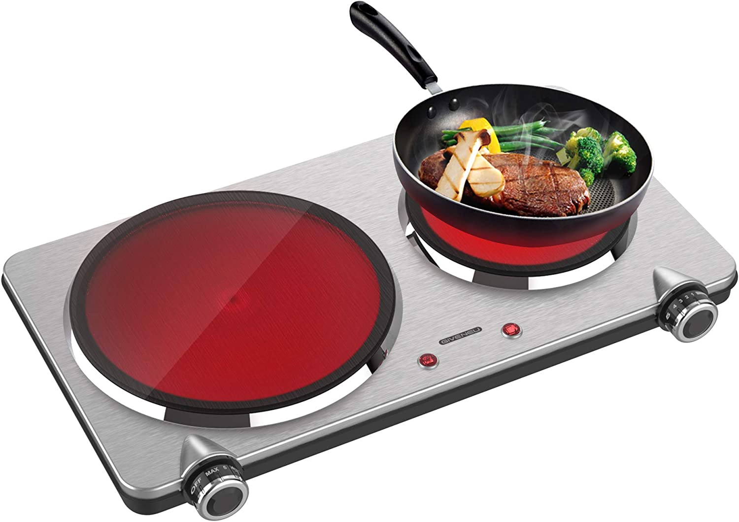 GIVENEU Portable Ceramic Infrared Cooktop, Double Infrared Burner for Cooking, 1800W Electric Ceramic Hot Plate, Portable Electric Stove for Small Home, Dorm and Camping