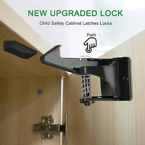 NeBatte 10x gabinete de seguridad para niños actualizado engancha cerraduras con diseños invisibles y desbloqueados para