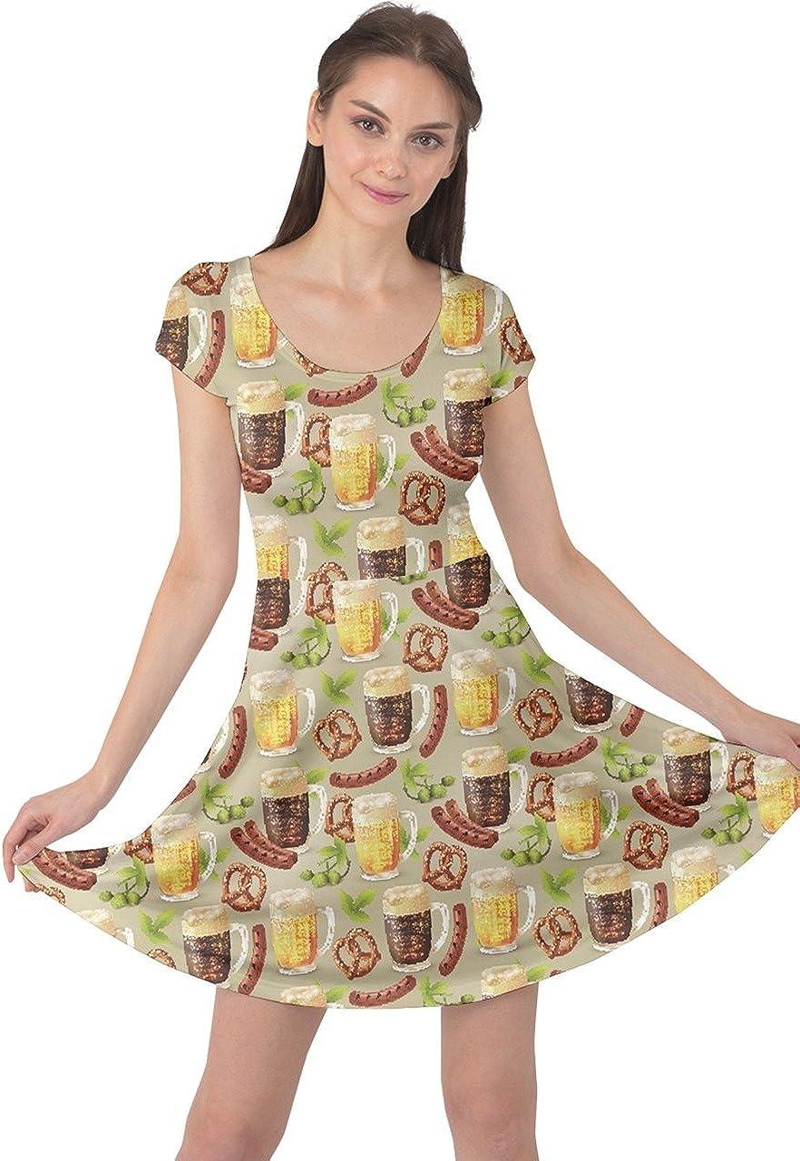 CowCow Womens Cupcakes Coffee Dessert Sweet Food Snacks Icecream Donut Short Sleeve Dress, XS-5XL