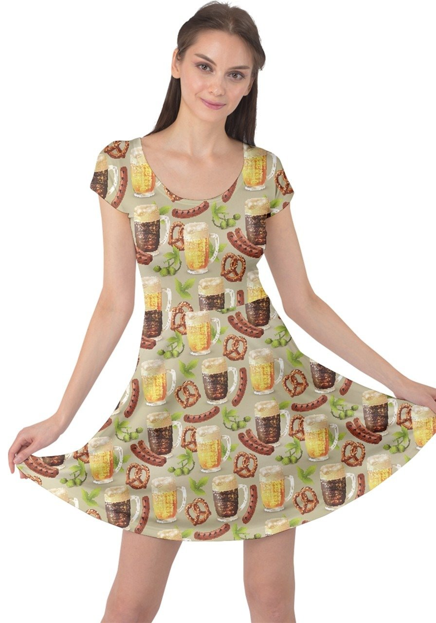 CowCow Womens Colorful Glass Mugs Lager Dark Beer Hop Pretzel Sausage Cap Sleeve Dress, Colorful - M