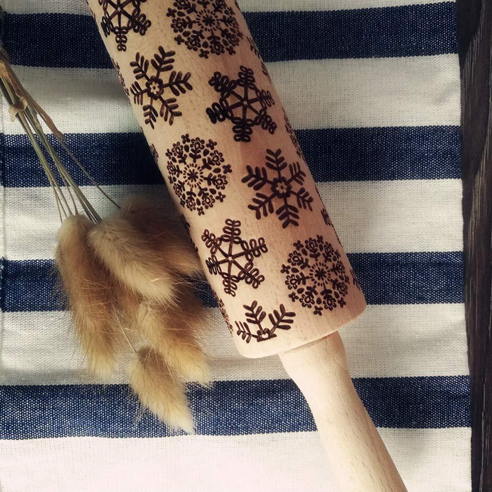 Snowflake Pattern Embossing Roller,Wooden Laser Engraved Rolling Pin for Embossed Cookies Best Christmas Gift Snowflake