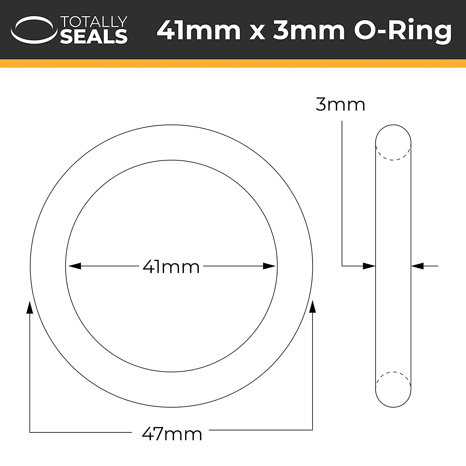 10 Choose pack size 47mm OD Nitrile Rubber O-Rings 70A Shore Hardness 41mm x 3mm