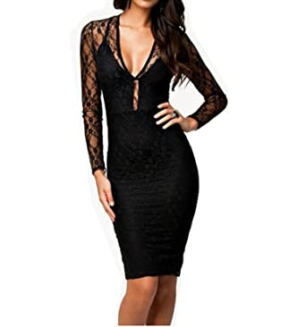 ce6f505542d12 WIIPU Womens Sexy Black Long Sleeve Knee Length Bodycon Party Evening Lace  (J432)-