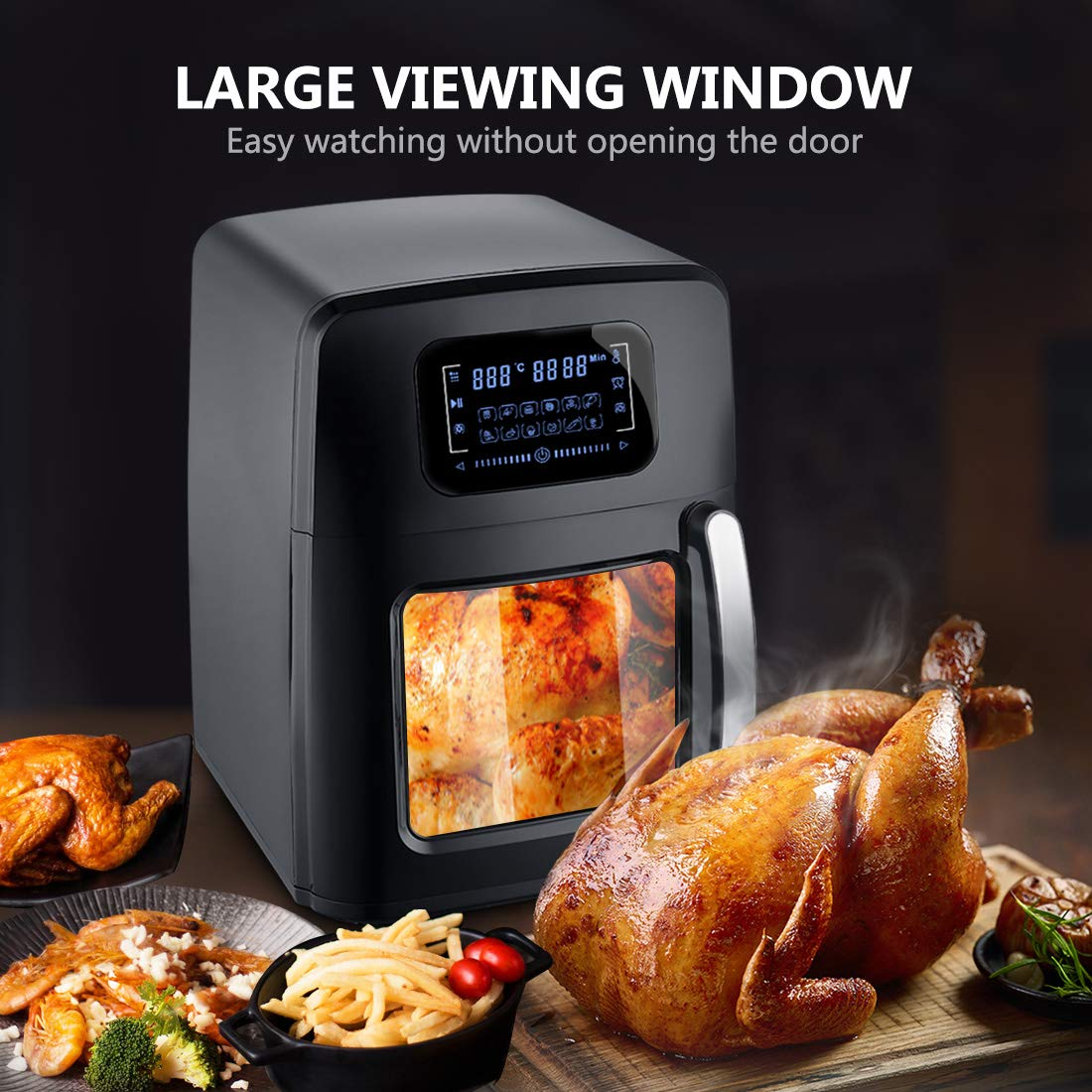 SARKI XL Fryer Viewing Window 12Qt Large Capacity, 6-Piece Programmable Air Oven with 12 Pre Settings Electric Hot Deep 6.3Qt Extra Fry Pan Inside-1700W /110V by SARKI (Image #2)