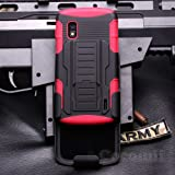 LG Nexus 4 Case, Cocomii Robot Armor NEW [Heavy Duty] Premium Belt Clip Holster Kickstand Shockproof Hard Bumper Shell [Military Defender] Full Body Dual Layer Rugged Cover Google (Red)