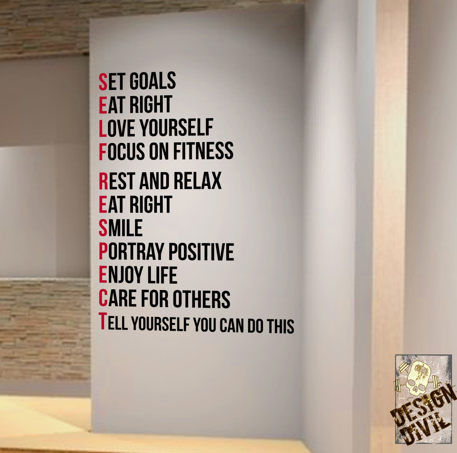 SELF RESPECT Gym Wall Decal Motivational QuoteHealth And Fitness - Wall decals motivational quotes
