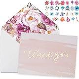 Thank You Cards-48 Bulk Blank Gold Foil&Watercolor Bulk Box Set with Elegant Floral Envelopes &Stickers for Wedding, Baby Sho