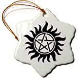 3dRose orn_193333_1 Supernatural Symbol-Snowflake Ornament, Porcelain, 3-Inch