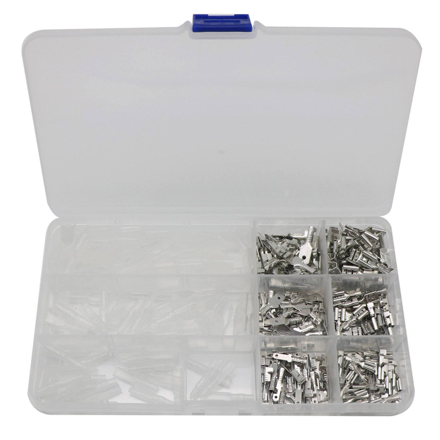 Spade Terminals 2.8mm 4.8mm 6.3mm Male Female Spade Connector Wire Crimp Terminal Block with Insulating Sleeve Assortment Kit 270Pcs