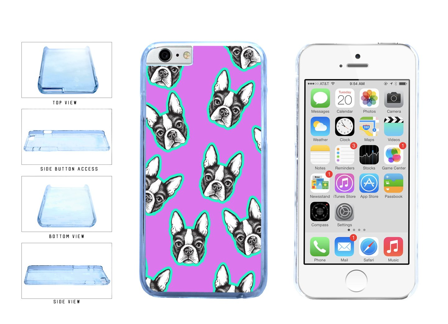 Cute Terriers On Pastel Background Clear Plastic Phone Case Back Cover Apple iPhone 6 6s (4.7 inches screen) includes BleuReign(TM) Cloth and Warranty Label
