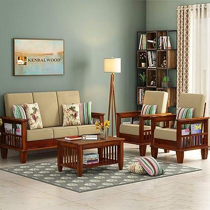 Hariom Handicraft Kendalwood Furniture Solid Sheesham Wood Sofa Set 3 1 1 Brown Amazon In Electronics