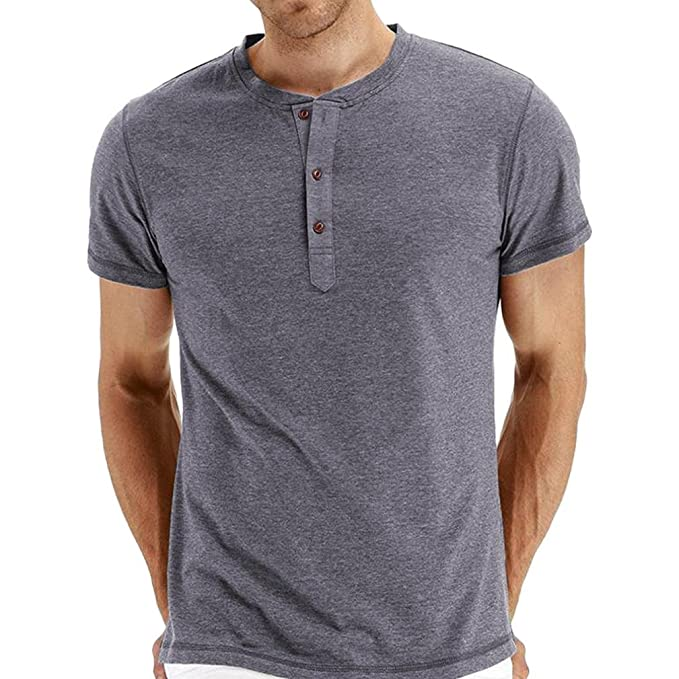 Amazon.com: Easytoy Mens Casual Slim Fit Short Sleeve Henley Neck T-shirts Cotton Shirts Top: Sports & Outdoors