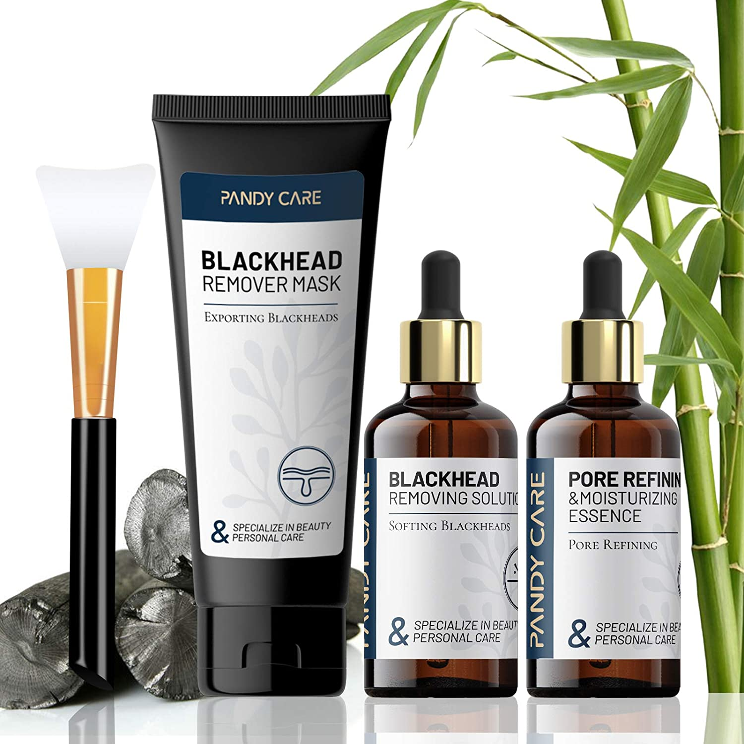 Blackhead Remover Mask, PandyCare 4-in-1 Charcoal Peel off Face Mask with Hyaluronic Acid Exporting Liquid, Mega-Mushroom Pore Refining Essence & Brush - Deep Cleansing, Pore Refining & Moisturizing
