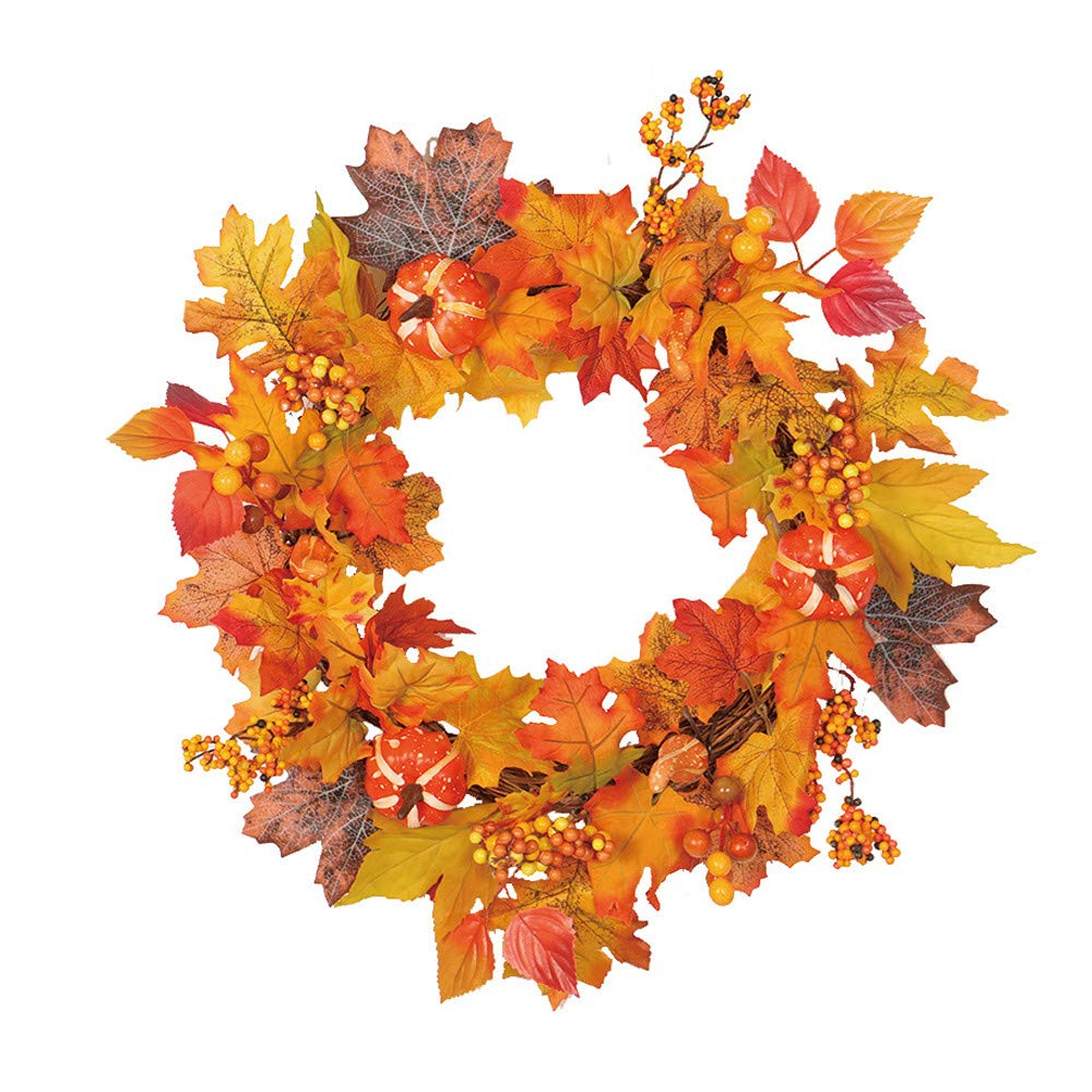 2018!!Leaf Fall Door Wall Home Ornament,Christmas Artificial Pine Cone Wreath (Orange) by Woaills