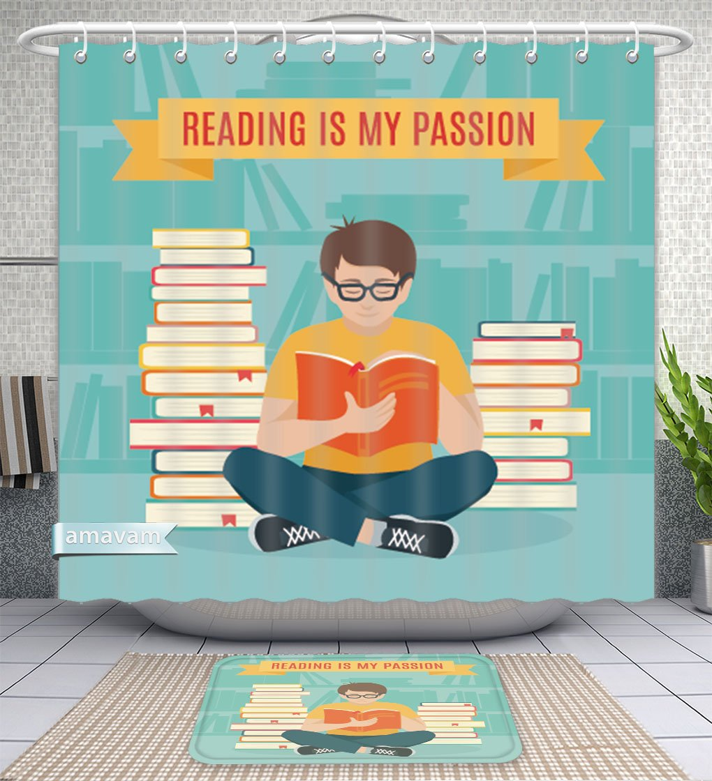 Unique Custom Bathroom 2-Piece Set Young Man Sitting Read His Favorite Book Education And School Study And Literature Flat Young Shower Curtains And Bath Mats Set, 79''Wx71''H & 31''Wx20''H