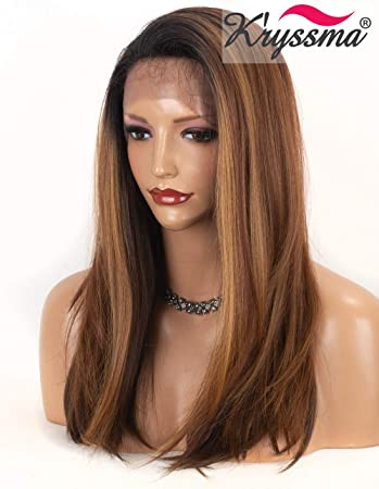 K27ryssma K Ryssma Ombre Brown Lace Front Wigs Medium Length Natural Straight Ombre Synthetic Wigs With Dark Roots Half Hand Tied Lace Wigs 16 Inches Amazon In Beauty