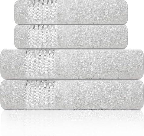 Lazzaro Home - Juego de toallas de algodón egipcio, 2 toallas de mano, 650 g/m², color gris, algodón egípcio, Blanco ...