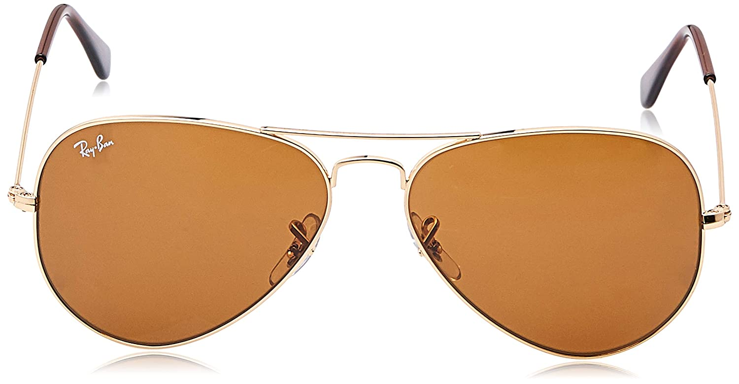 Ray-Ban RB3025 Aviator Sunglasses, Gold/Brown, 58 mm