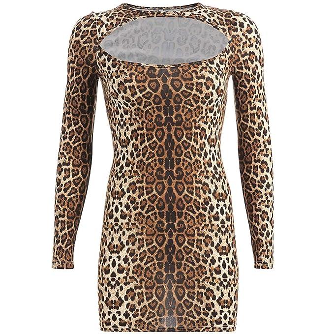 Vestido De Leopardo De Manga Larga Vestido De Leopardo Falda Corta ...