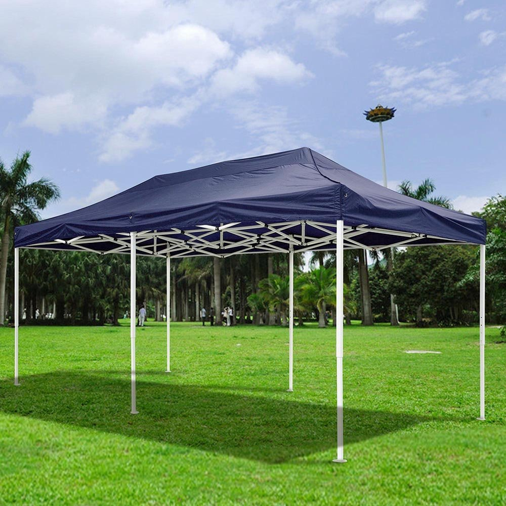 10x20ft EZ Pop Up Canopy Top Replacement Instant Patio Pavilion Gazebo Sunshade Tent Oxford Cover Outdoor Dark Blue For Events Wedding Parties Craft Shows Music