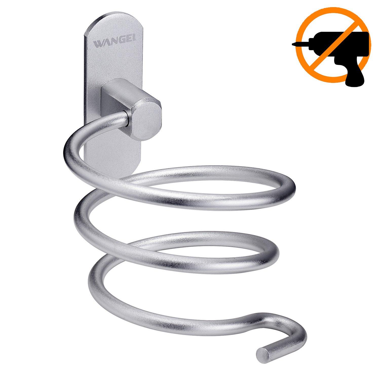 Wangel Adesivo Forte Porta asciugacapelli, Colla Brevettata + Autoadesivo, Alluminio, Finitura Opaca