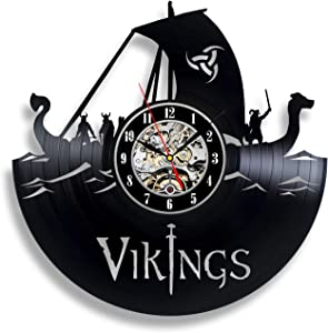 Handmade Solutions Vikings Vinyl Record Wall Clock - Vikings Gifts Accessories Women Kids Art Decor Youth Party Wedding for Men Birthday
