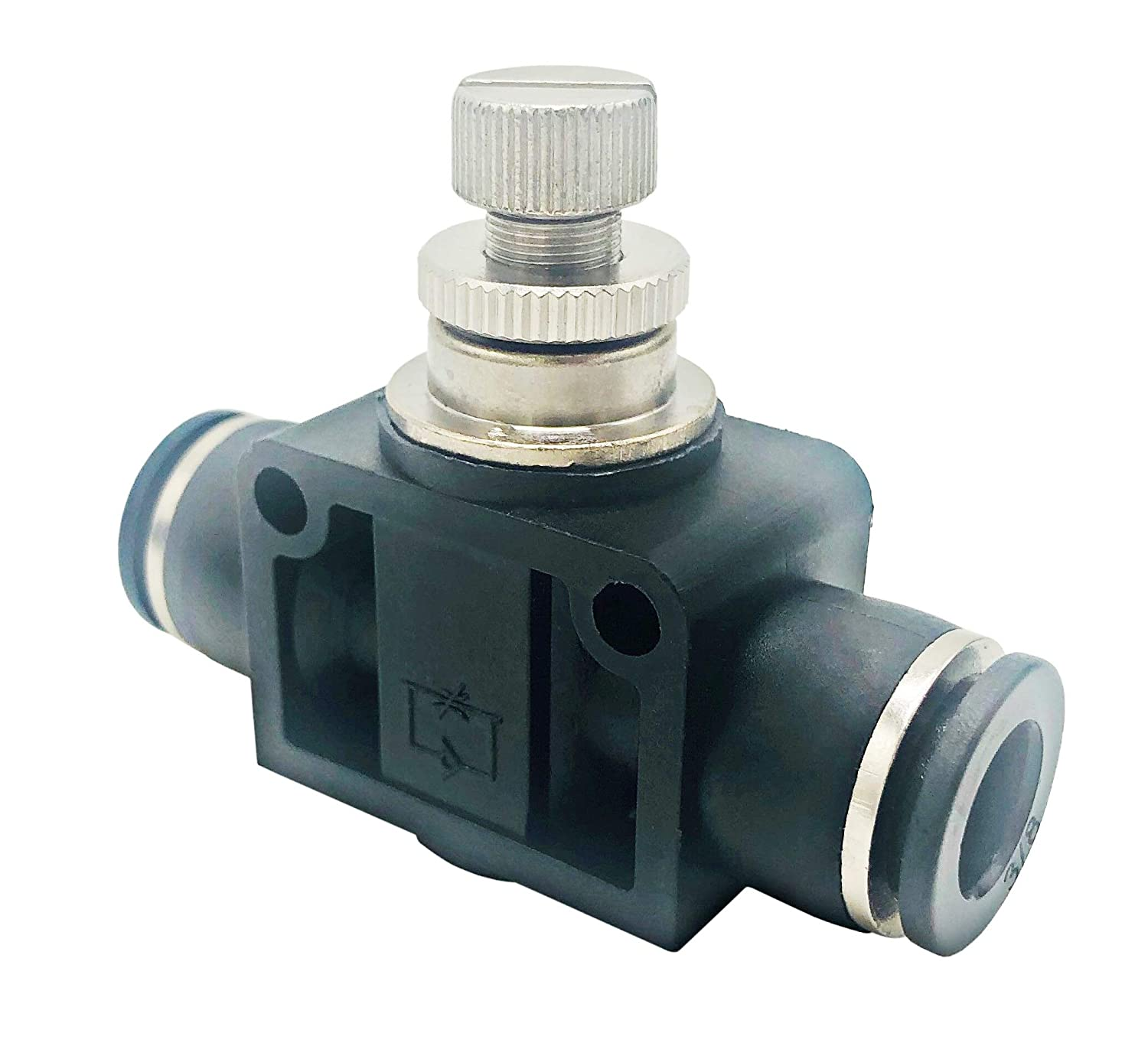 Air Flow Control Valve Speed Controller Push to Connect Straight Union,3//8 OD X 3//8 OD Tube