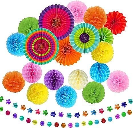 EDATOFLY 20 Piezas Decoraci/ón de la Fiesta Abanicos de Papel Flores Pompom Bolas de Nido de Abeja Guirnaldas para Decoraci/ón del Hogar Cumplea/ños Boda Carnaval Fiesta