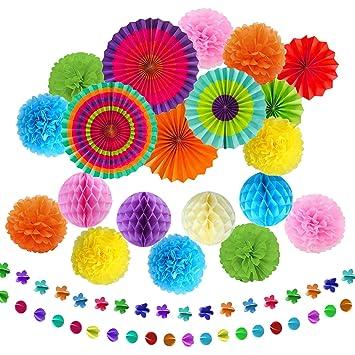 TATAFUN 24 Piezas Decoración Fiesta, Abanicos de Papel Flores Pompom Bolas de Nido de Abeja Guirnaldas para Celebración Fiesta de Cumpleaños Bodas ...