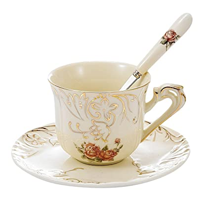 bb0c286b7c8 Panbado 3 Piece Place Setting Bone China Tea Cup and Saucer Set with Spoon  7.5 Ounce, Vintage Porcelain Coffee Cup Set, Service for 1, Ivory White ...