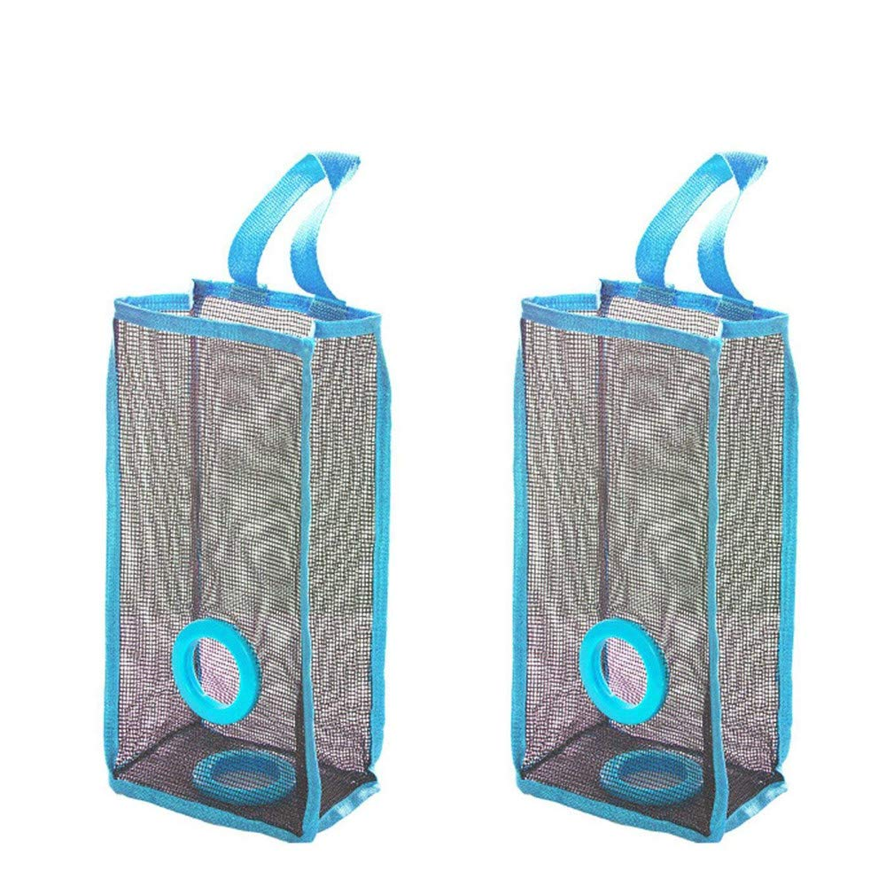 WaiiMak Clearance! 2PC Storage Bag, Kitchen Hanging Type Breathable Mesh Grid Garbage Bags (Blue)
