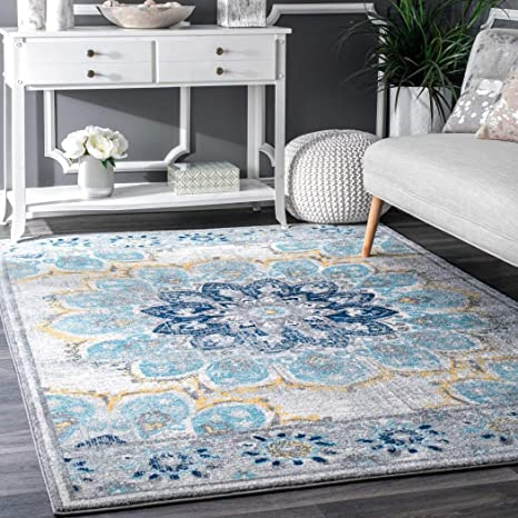 Amazon Com Dh 4 X6 Ft Blue White Yellow Floral Multi Colored Mandala Patterned Area Rug Indoor Flower Living Room Mat Rectangle Carpet Large Flooring Wide Plush Vintage Style Polypropylene Synthetic Home Kitchen