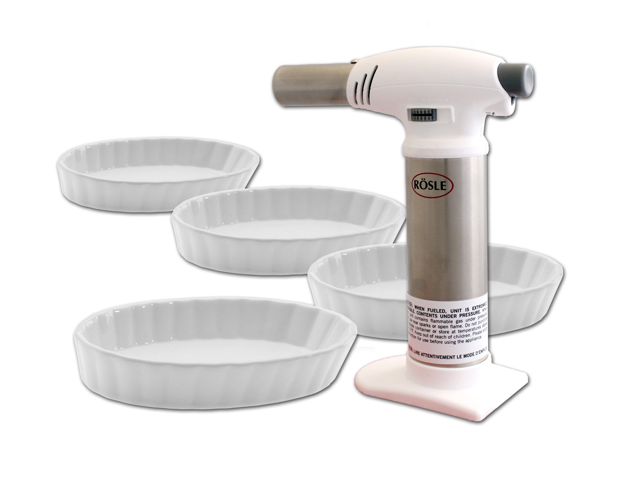 Rösle Crème Brûlée 5 Piece Set (Rösle Kitchen Torch + 4 Oval Crème Brûlée Dishes)