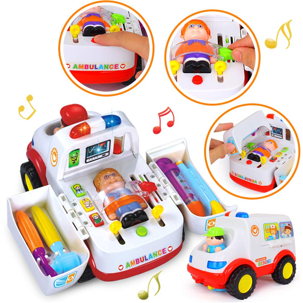 LOVE-GIFT Ambulance Toy, Doctor Kit for Kids, Doctor Vehicle Set 2-in-1 Baby Toys Pretend Doctor Set & Medical Kit Inside Bump & Go Toy Car with Lights