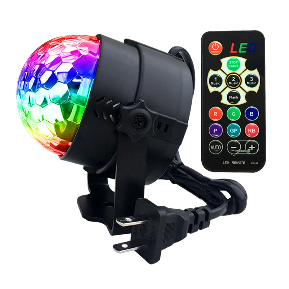 YSH Mini LED Party Lights Disco Ball-7 Color Rotating Stage Light DJ Lighting Sound Activated Strobe Lights for World Cup Party