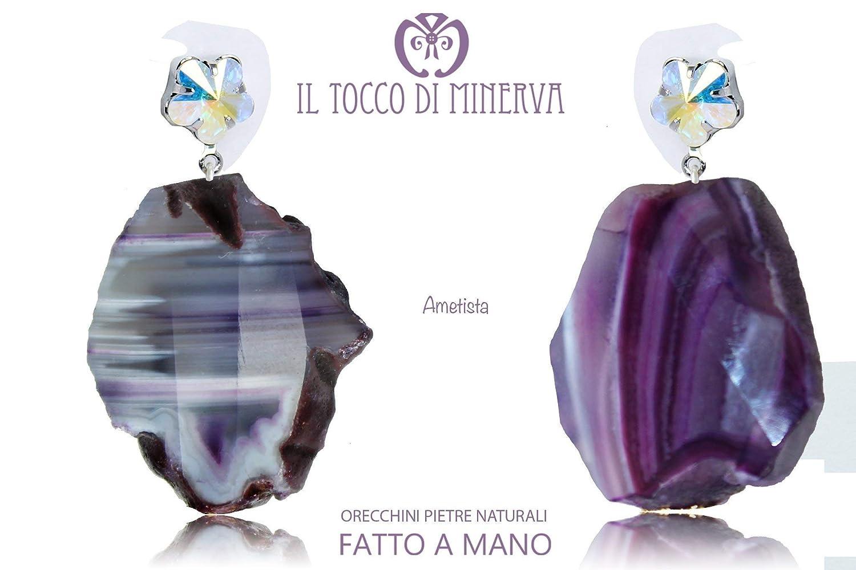 Pendientes de piedra natural amatista hecho a mano Made in Italy