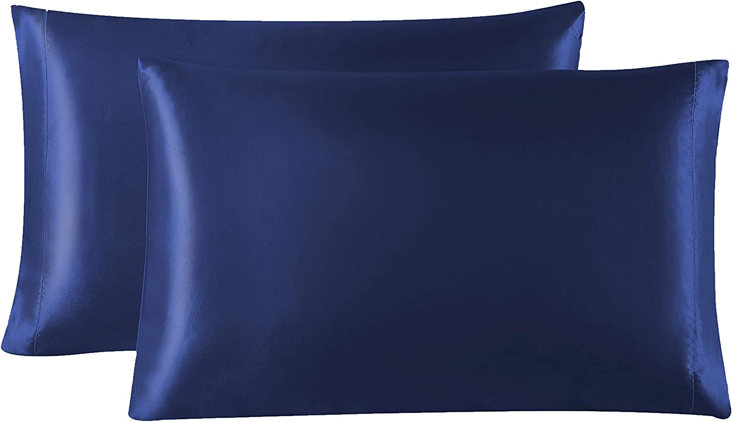 Love's cabin Silk Satin Pillowcase for Hair and Skin (Navy Blue, 20x26 inches) Slip Pillow Cases Standard Size Set of 2 - Satin Cooling Pillow Covers with Envelope Closure