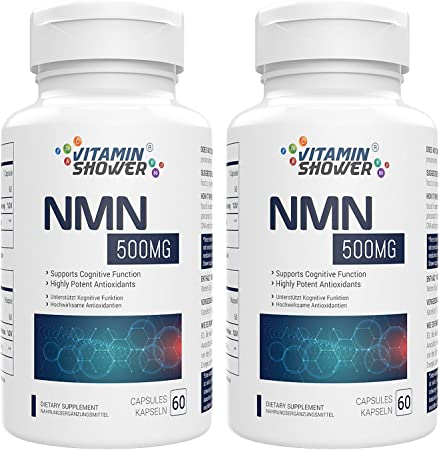 NMN Supplement Nicotinamide Mononucleotide   500mg   60 Capsules Per Bottle   NAD Boosters   Anti Aging Supplements for Cellular Repair & Energy (120 Capsules, Pack of 2)
